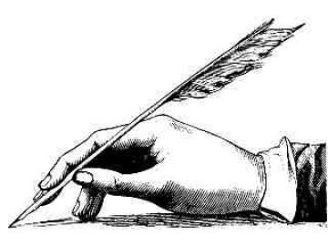 quill pen in hand