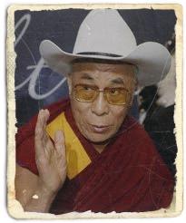 dalai lama in a cowboy hat