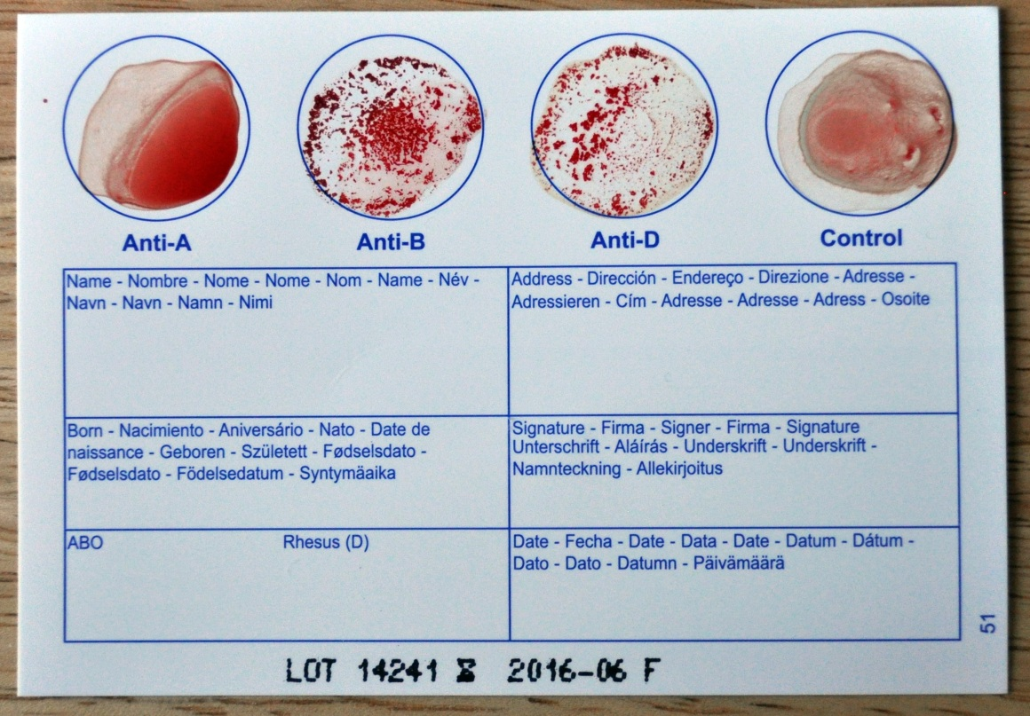 Blood test card
